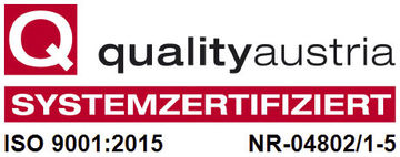 Quality Austria Systemzertifiziert ISO 9001:2015 Nr.-04802/1-5.